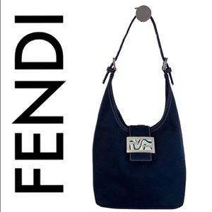 FENDI DARK NAVY AND SILVER SHOULDER BAG